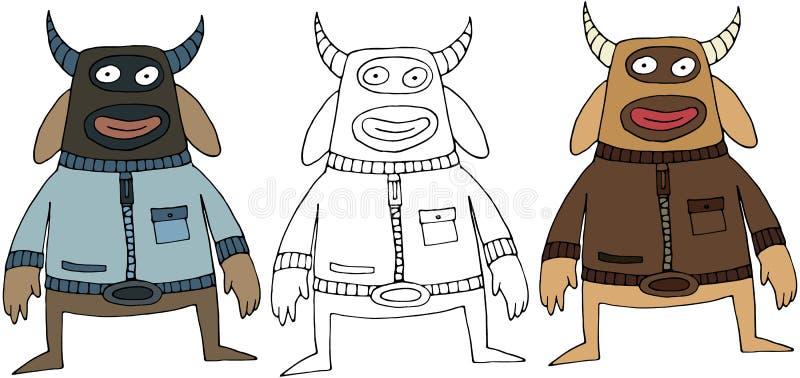 Isolat tiré par la main heureux de monstre de bande dessinée de couleur de vache drôle à griffonnage illustration libre de droits