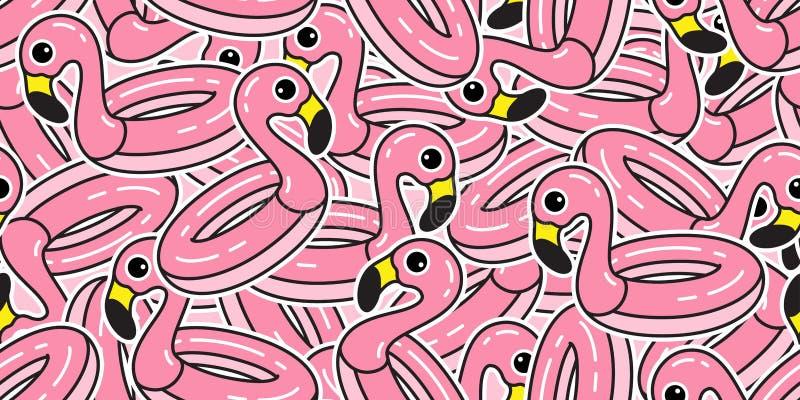 Isolat tropical de natation d'écharpe de papier peint de répétition d'été d'oiseau exotique de flamants de rose de piscine d'anne illustration libre de droits
