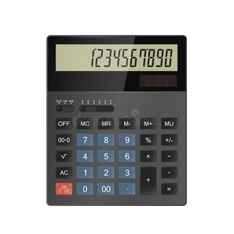 Isolatad калькулятора на белой предпосылке Реалистическая иллюстрация вектора иллюстрация штока
