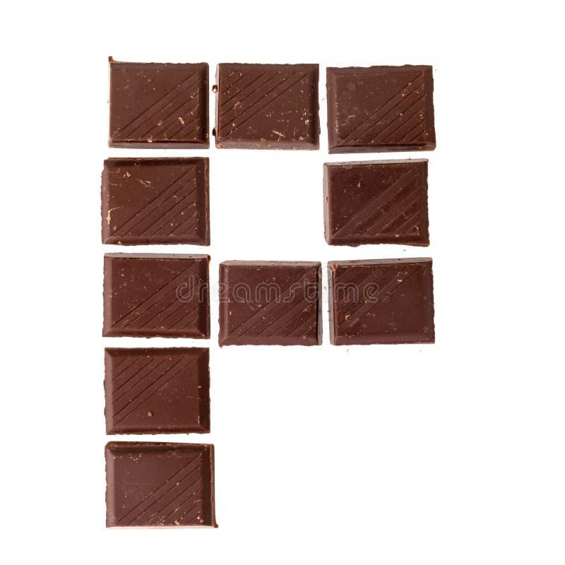 Isolate chocolate letter, alphabet. P - Isolate chocolate letter, alphabet on white background stock photos