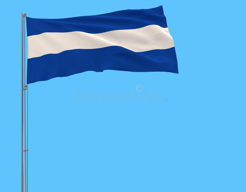 Isolate civil flag of El Salvador on a flagpole fluttering in the wind on a blue background. 3d rendering vector illustration