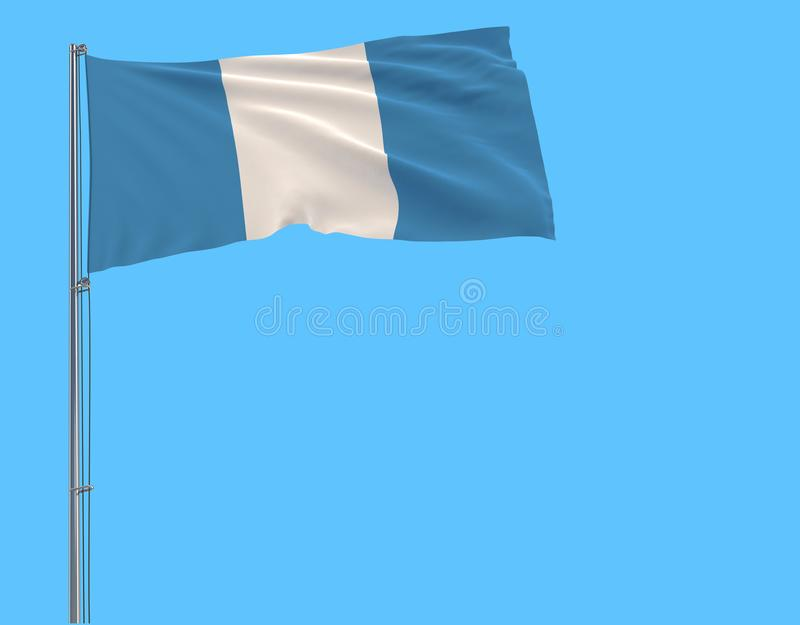 Isolate civil flag of Guatemala on a flagpole fluttering in the wind on a blue background. 3d rendering stock illustration