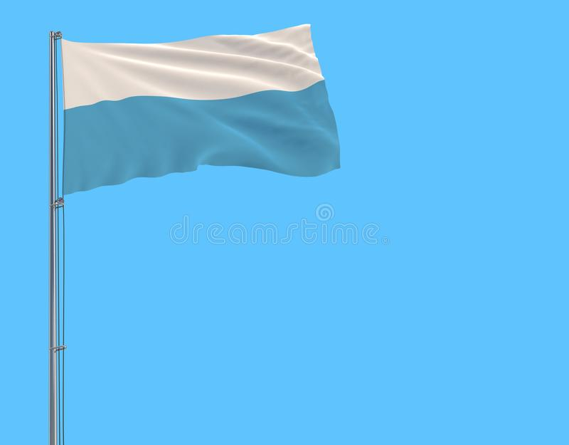 Isolate civil flag of San Marino on a flagpole fluttering in the wind on a blue background. 3d rendering vector illustration