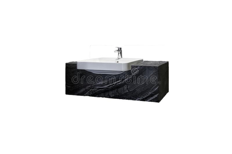 Isolate clean white wash basin and flush toilet. In white backgroundn royalty free stock image