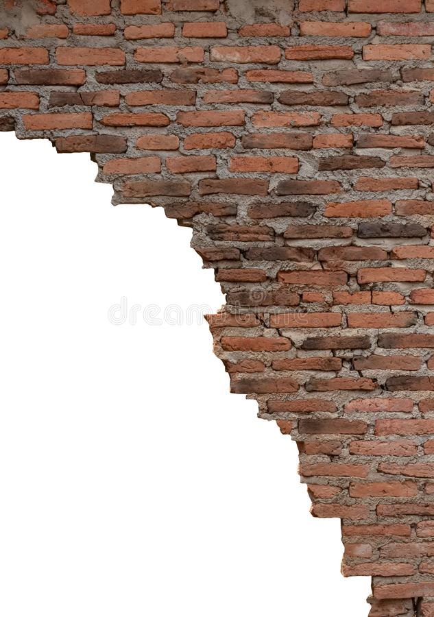 Isolated old brick wall is broken stock photography