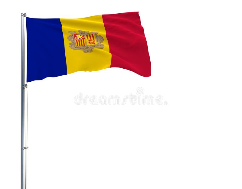 Isolate flag of Andorra on a flagpole fluttering in the wind on a white background, 3d rendering. Isolate flag of Andorra on a flagpole fluttering in the wind vector illustration