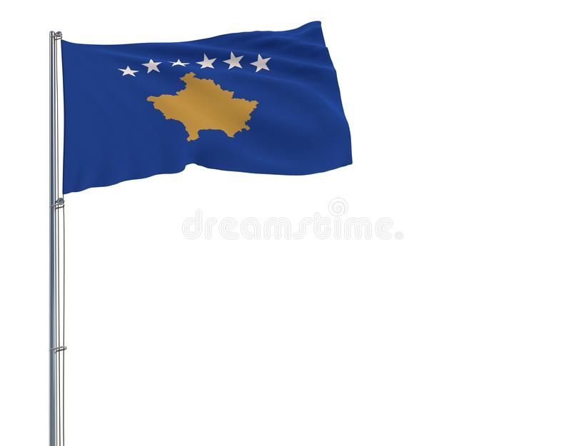 Isolate flag of Kosovo on a flagpole fluttering in the wind on a white background, 3d rendering. vector illustration