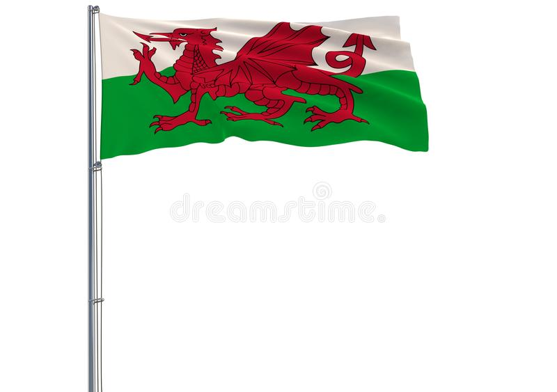 Isolate flag of Wales on a flagpole fluttering in the wind on a stock illustration