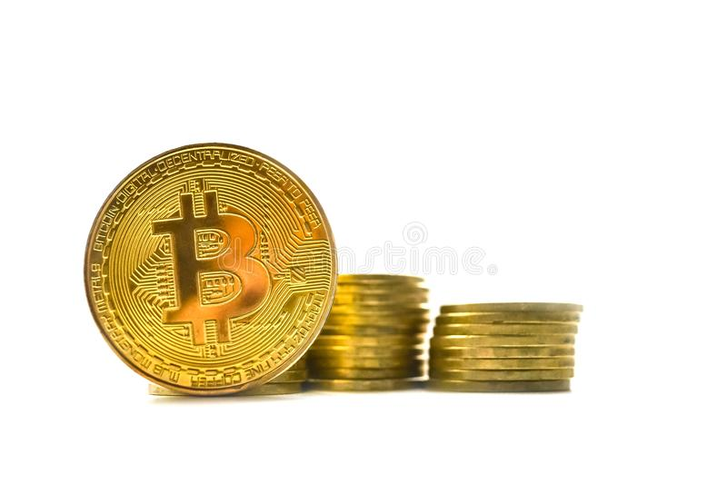 Isolate the gold bitcoin. Cryptocurrency, crypto business. stock photography