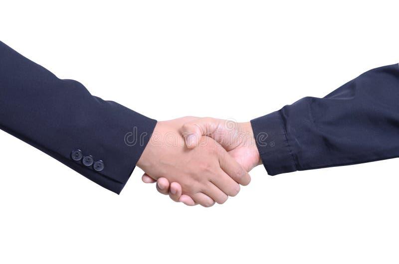 Isolate of handshake. Isolate of business man and worker handshake stock photography