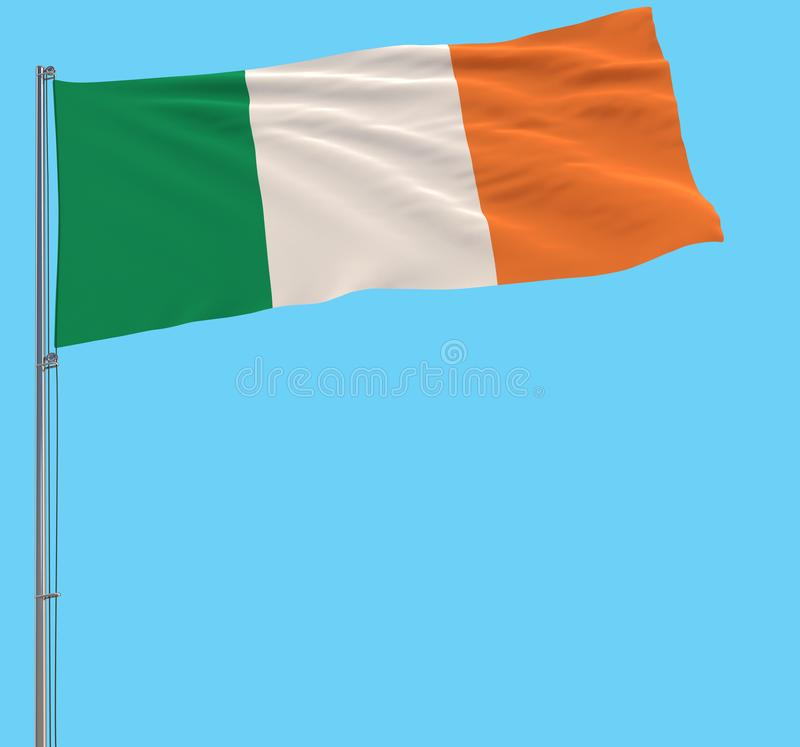 Isolate large cloth of Ireland on a flagpole fluttering in the wind on a blue background, 3d rendering. stock images