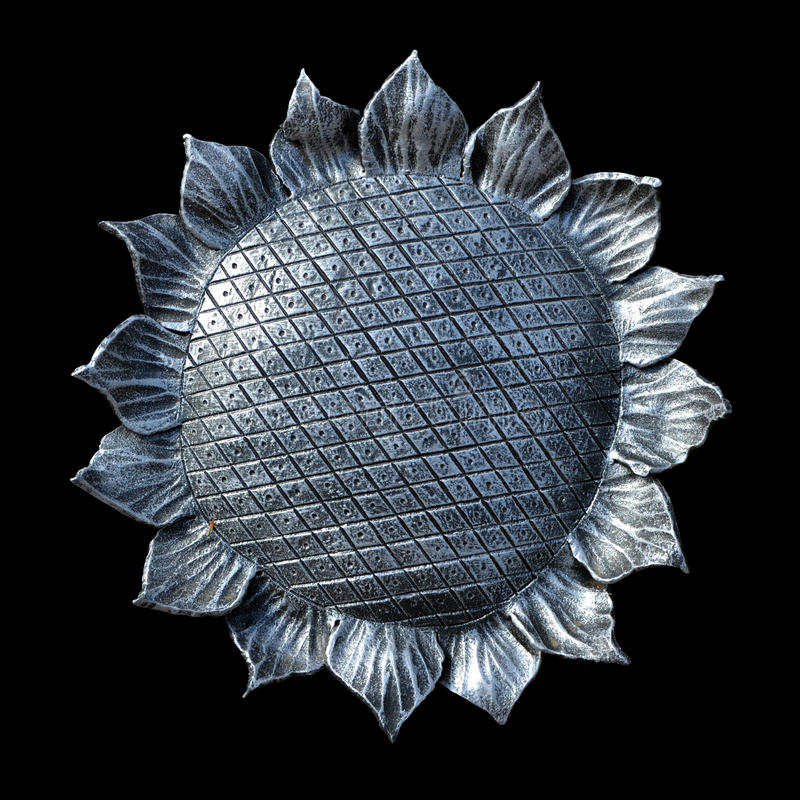 Download Isolate Metal Forged Sunflower On A Black Background Stock Photo - Image: 33597528