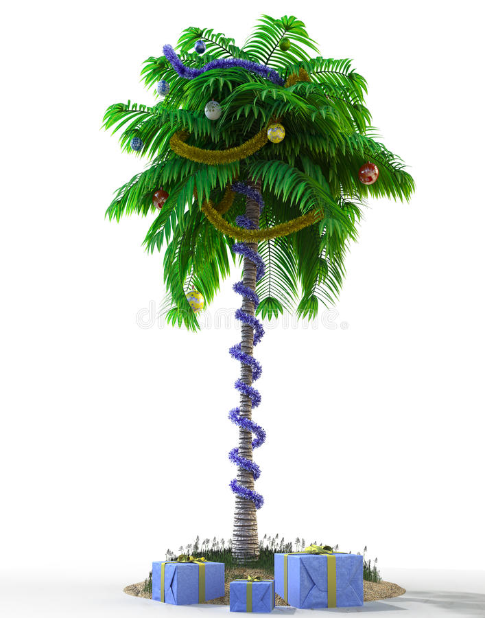 Isolate New Year palm tree with decoration concept holiday stock illustration