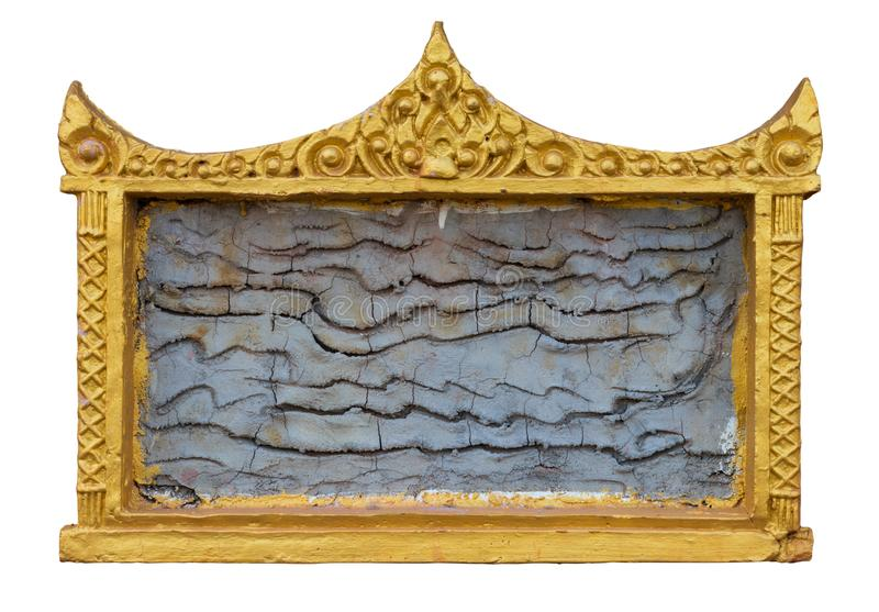 Isolate picture frame gold stucco. royalty free stock images