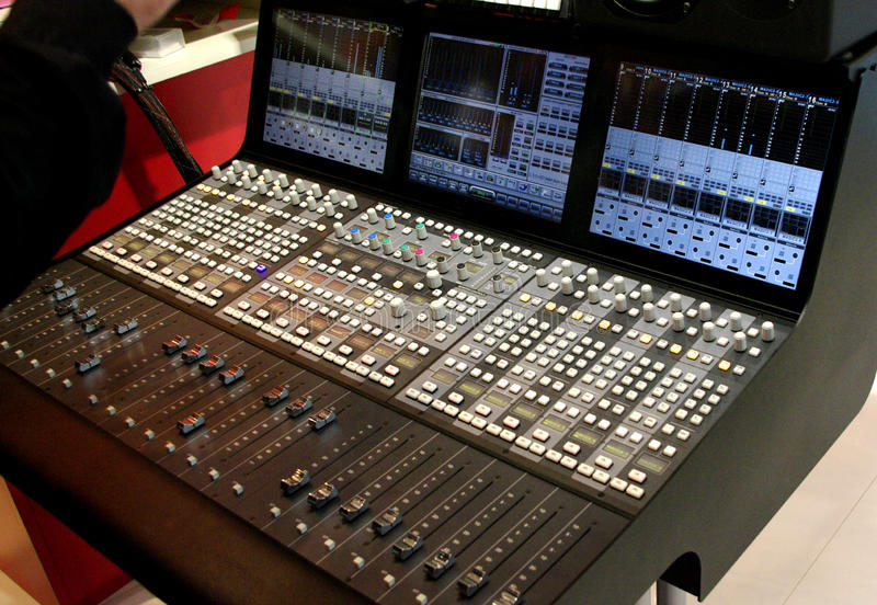 audio mixer, music mixer board stock images