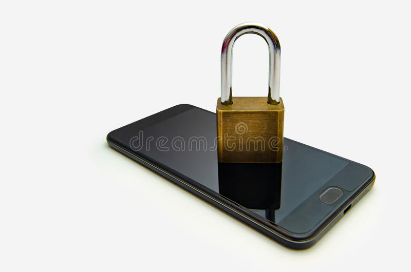 Isolate Unlocked smartphone lock Internet phone hand press the phone to communicate in the Internet. Cyber security concept hand royalty free stock photo