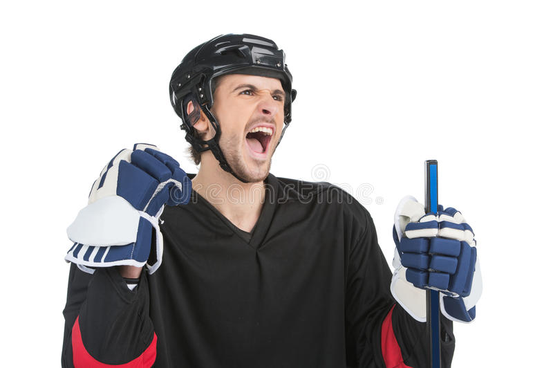 Isolate on white. Close up of screaming hockey player stock photos