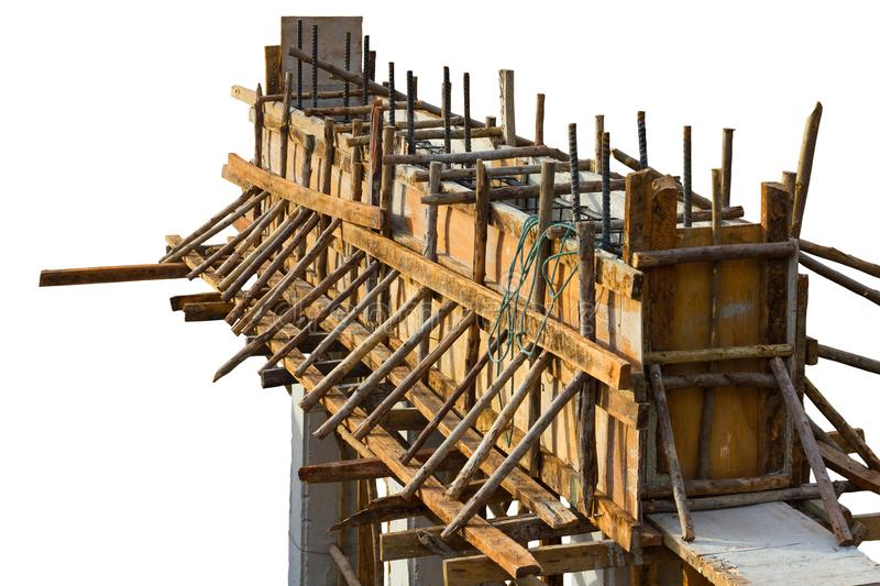 Isolate wooden structures, cast concrete beams stock image