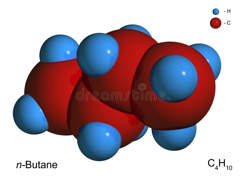 Download Isolated 3D Model Of A Molecule Of Butane Stock Illustration - Illustration of micro, chemical: 8495449