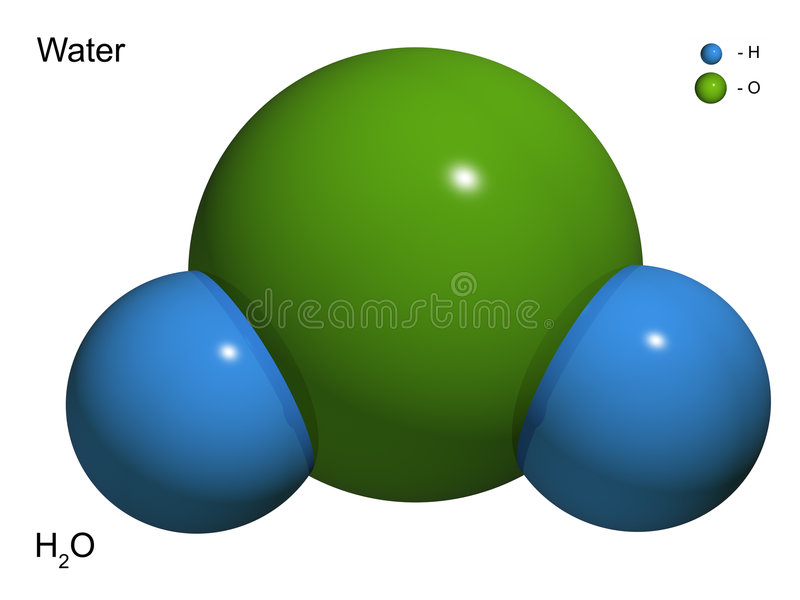 The isolated 3D model of water. Molecule vector illustration