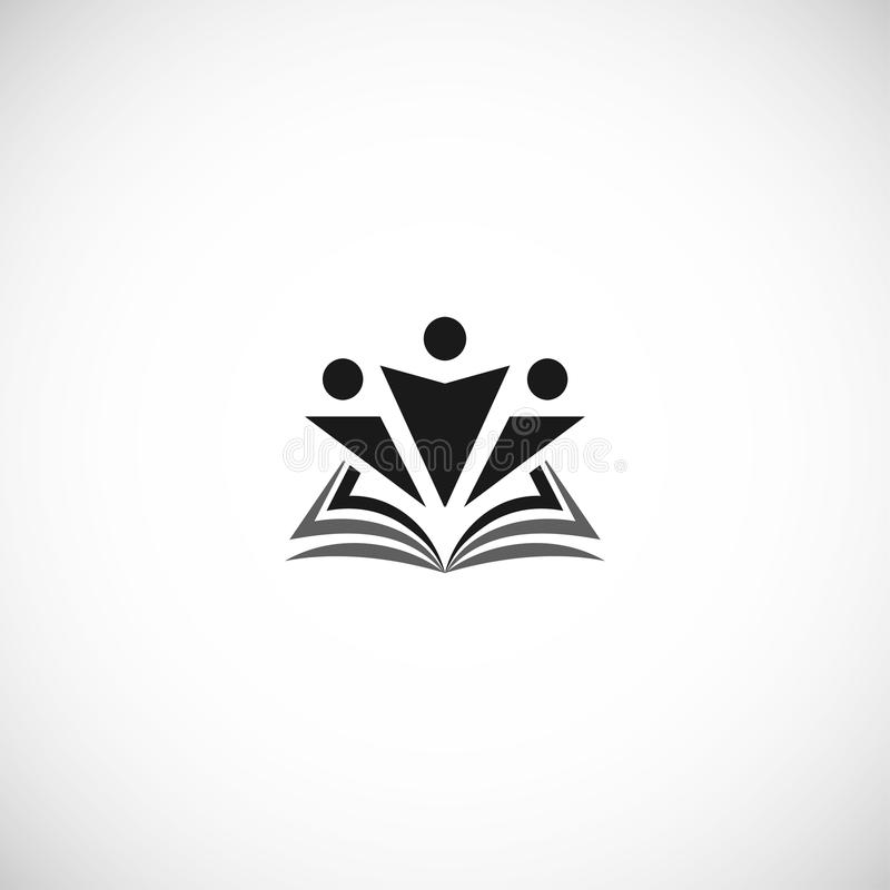 Isolated abstract black color education and learn logo, university and school book, graduate human silhouettes logotype stock illustration