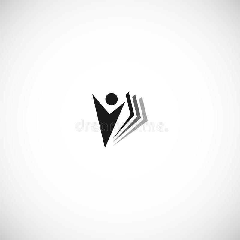 Isolated abstract black color education and learn logo, university and school book, graduate human silhouettes logotype royalty free illustration