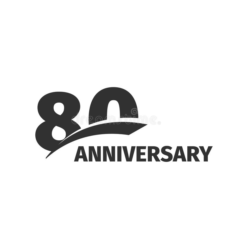Isolated abstract black 80th anniversary logo on white background. 80 number logotype. Eighty years jubilee celebration. Icon. Eightieth birthday emblem. Vector royalty free illustration
