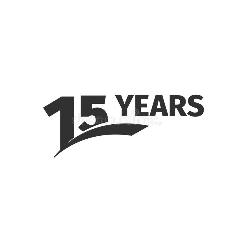 Isolated abstract black 15th anniversary logo on white background. 15 number logotype. Fifteen years jubilee celebration. Icon. Fifteenth birthday emblem vector illustration