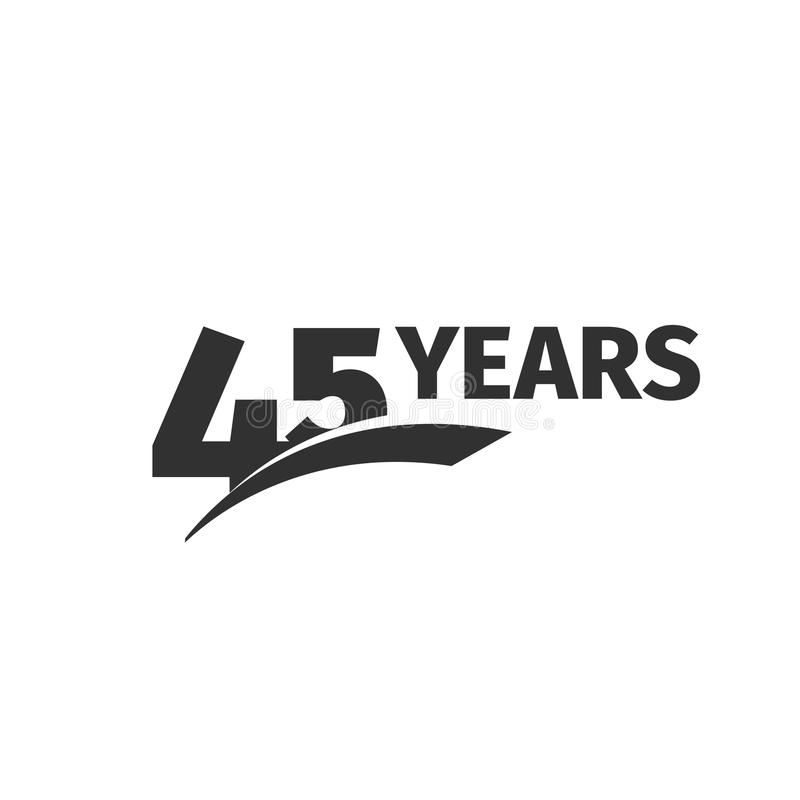 Isolated abstract black 45th anniversary logo on white background. 45 number logotype. Forty-five years jubilee royalty free illustration