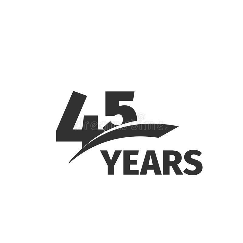 Isolated abstract black 45th anniversary logo on white background. 45 number logotype. Forty-five years jubilee. Isolated abstract color 45th anniversary logo on stock illustration