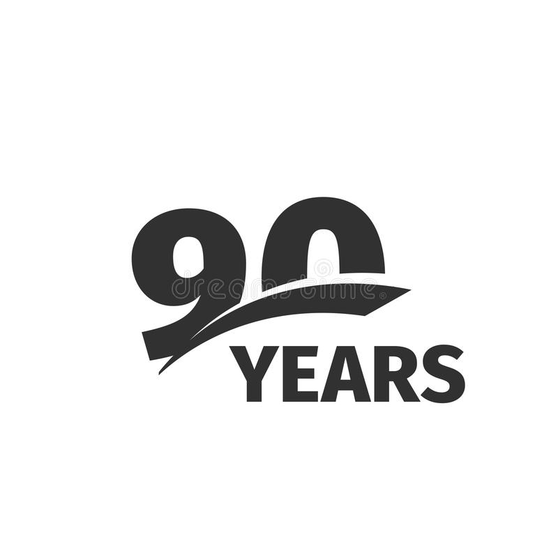 Isolated abstract black 90th anniversary logo on white background. 90 number logotype. Ninety years jubilee celebration. Icon. Ninetieth birthday emblem. Vector vector illustration