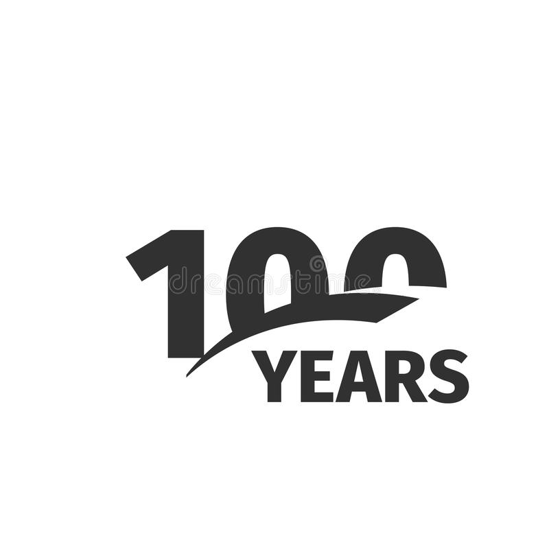 Isolated abstract black 100th anniversary logo on white background. 100 number logotype. One hundred years jubilee. Celebration icon. One-hundredth birthday vector illustration