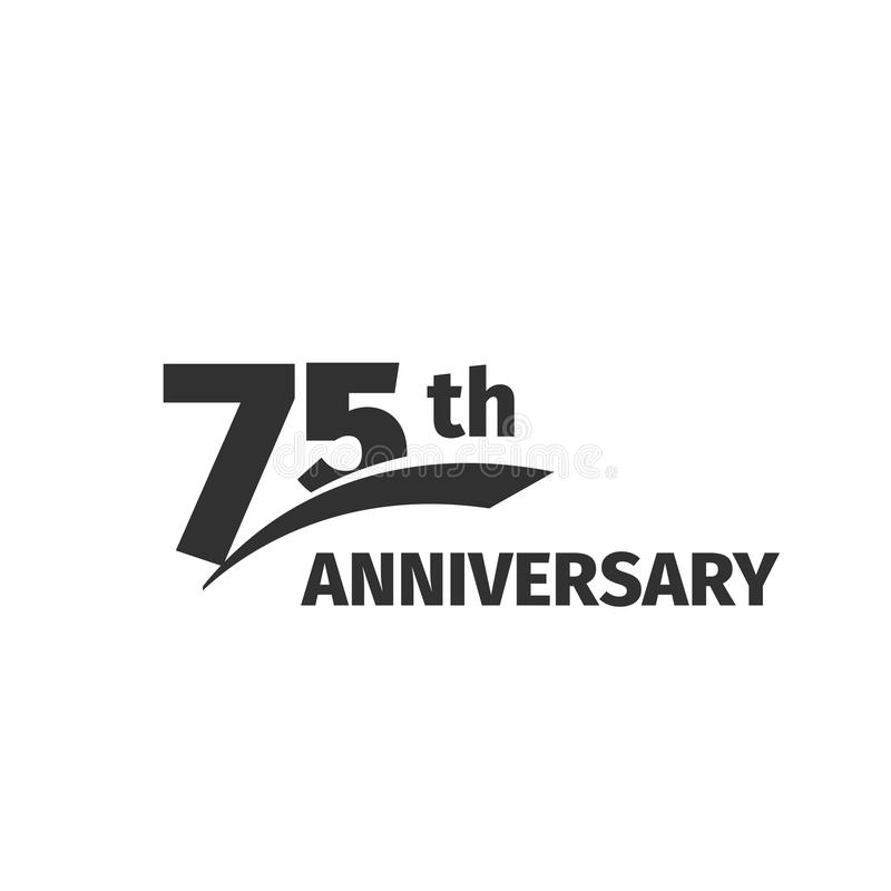Isolated abstract black 75th anniversary logo on white background. 75 number logotype.Seventy -five years jubilee. Celebration icon. Seventy-fifth birthday stock illustration