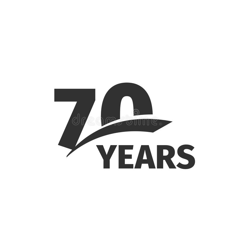 Isolated abstract black 70th anniversary logo on white background. 70 number logotype. Seventy years jubilee celebration. Icon. Seventieth birthday emblem vector illustration
