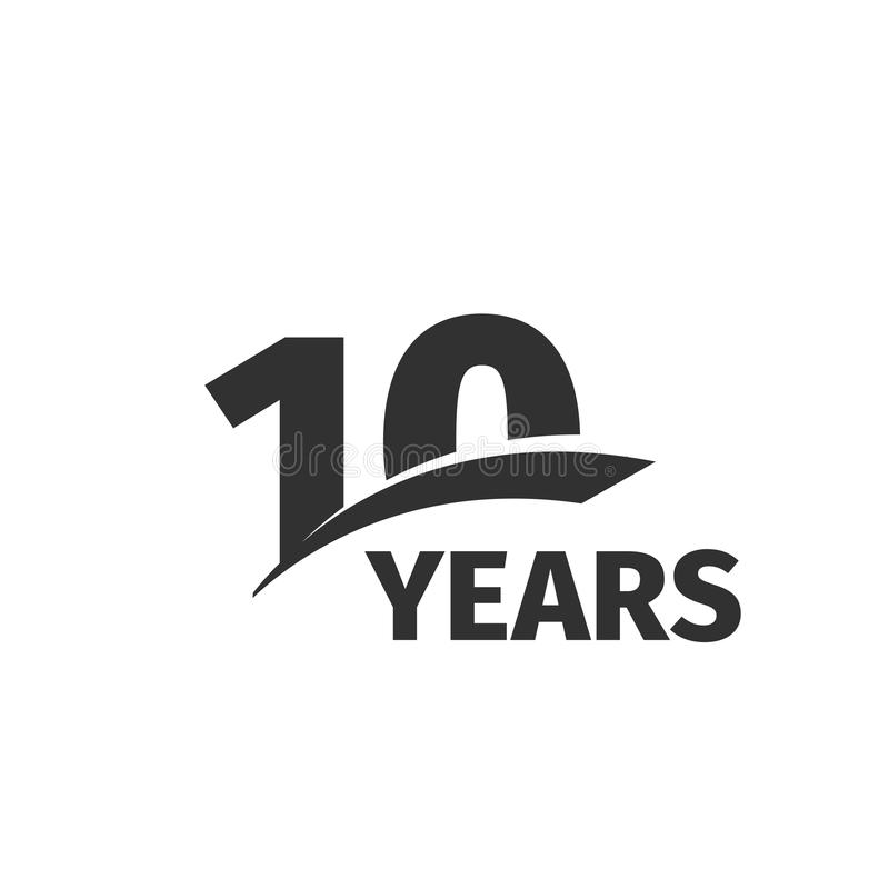 Isolated abstract black 10th anniversary logo on white background. 10 number logotype. Ten years jubilee celebration. Icon. Tenth birthday emblem. Vector royalty free illustration