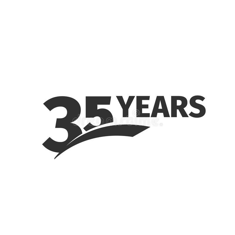 Isolated abstract black 35th anniversary logo on white background. 35 number logotype. Thirty-five years jubilee. Celebration icon. Thirty-fifth birthday emblem vector illustration
