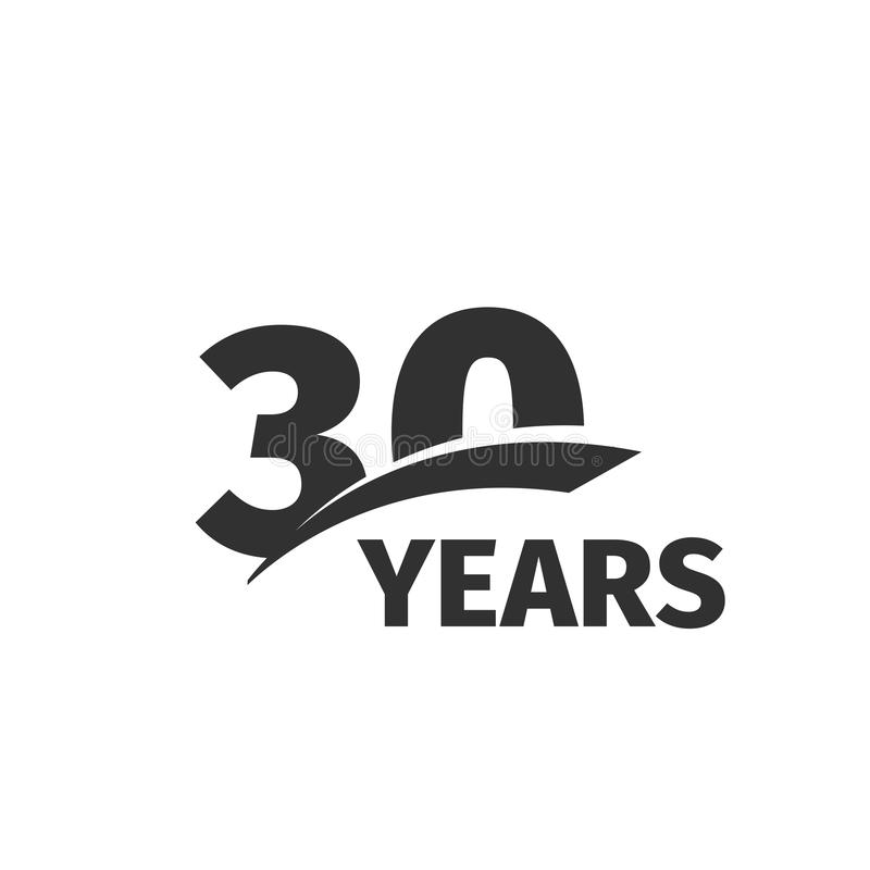 Isolated abstract black 30th anniversary logo on white background. 30 number logotype. Thirty years jubilee celebration. Icon. Thirtieth birthday emblem. Vector vector illustration