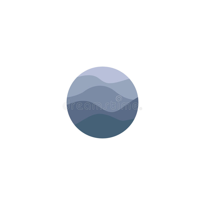 Isolated abstract blue color round shape water surface logo on the white background. Ocean,sea,river waves logotype stock illustration