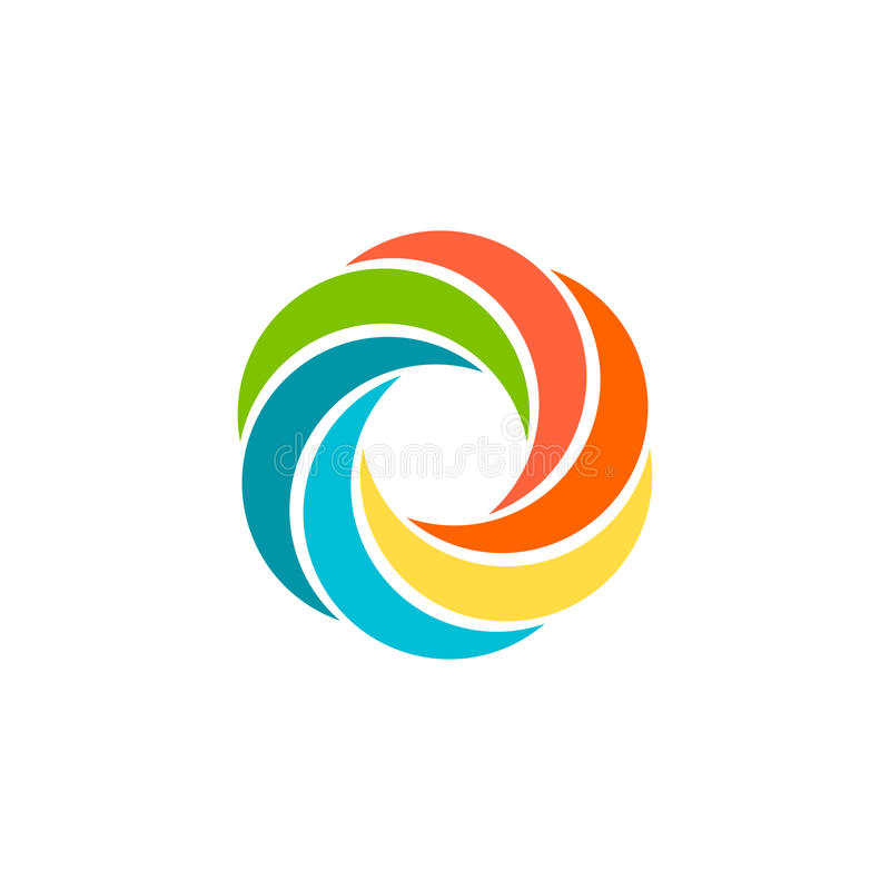 Free Isolated Abstract Colorful Circular Sun Logo. Round Shape Rainbow Logotype. Swirl, Tornado And Hurricane Icon. Spining Royalty Free Stock Photo - 79475915