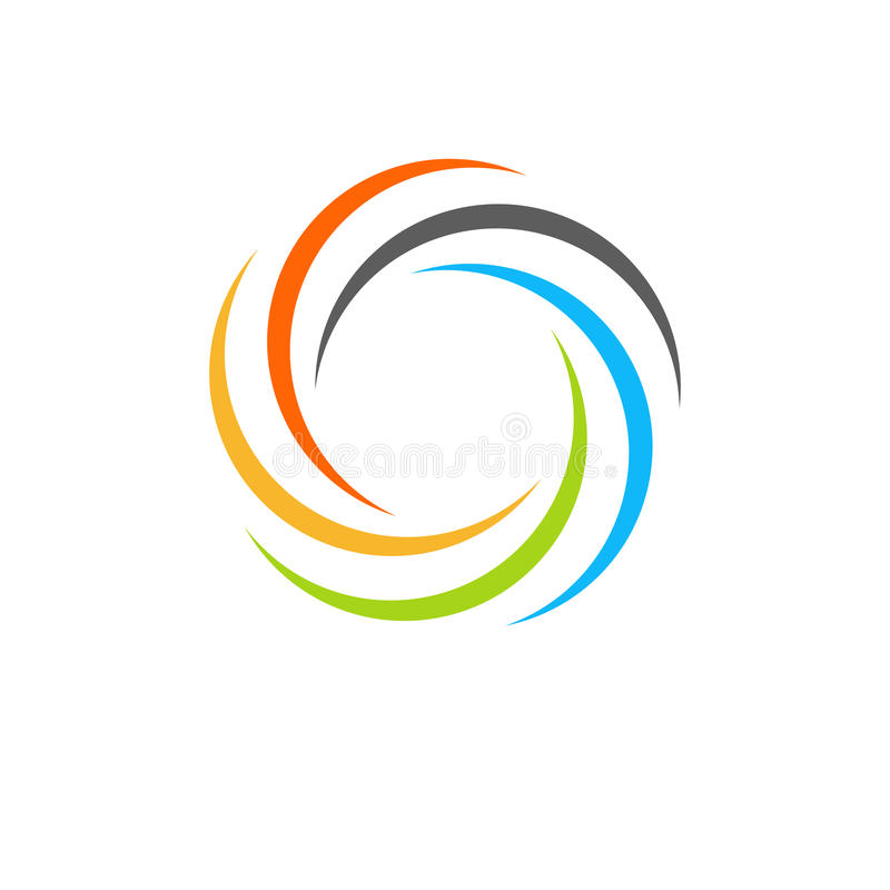 Isolated abstract colorful circular sun logo. Round shape rainbow logotype. Swirl, tornado and hurricane icon. Spining. Hypnotic spiral sign. Photo lens symbol stock illustration