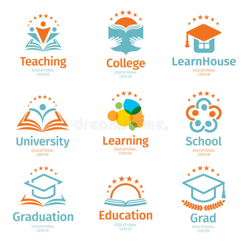 Isolated abstract colorful education and learn logo set, university and school books, graduate hats and human royalty free illustration
