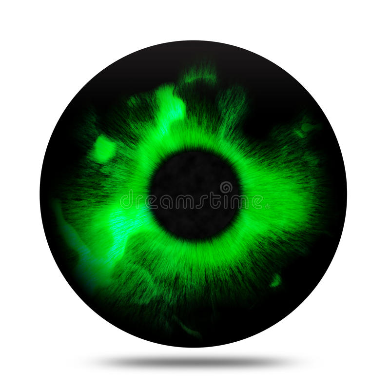 Isolated abstract fantasy magic green eye pupil stock illustration