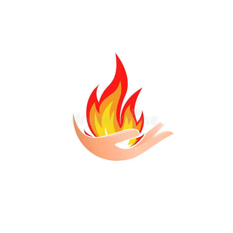 Isolated abstract fire logo. Flame in hand logotype. Hot palm icon. Heat sign. Flammable symbol. Vector illustration. Isolated abstract fire logo. Flame in hand stock illustration