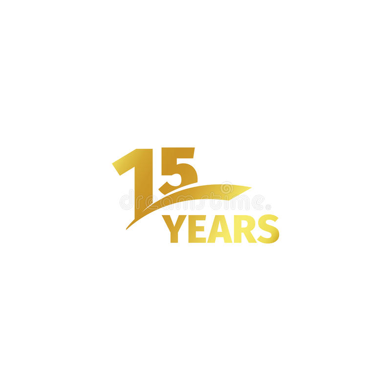 Free Isolated Abstract Golden 15th Anniversary Logo On White Background. 15 Number Logotype. Fifteen Years Jubilee Royalty Free Stock Image - 80766006