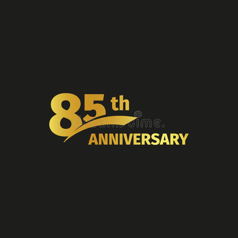 Isolated abstract golden 85th anniversary logo on black background. 85 number logotype. Eighty-five years jubilee. Celebration icon. Eighty-fifth birthday vector illustration