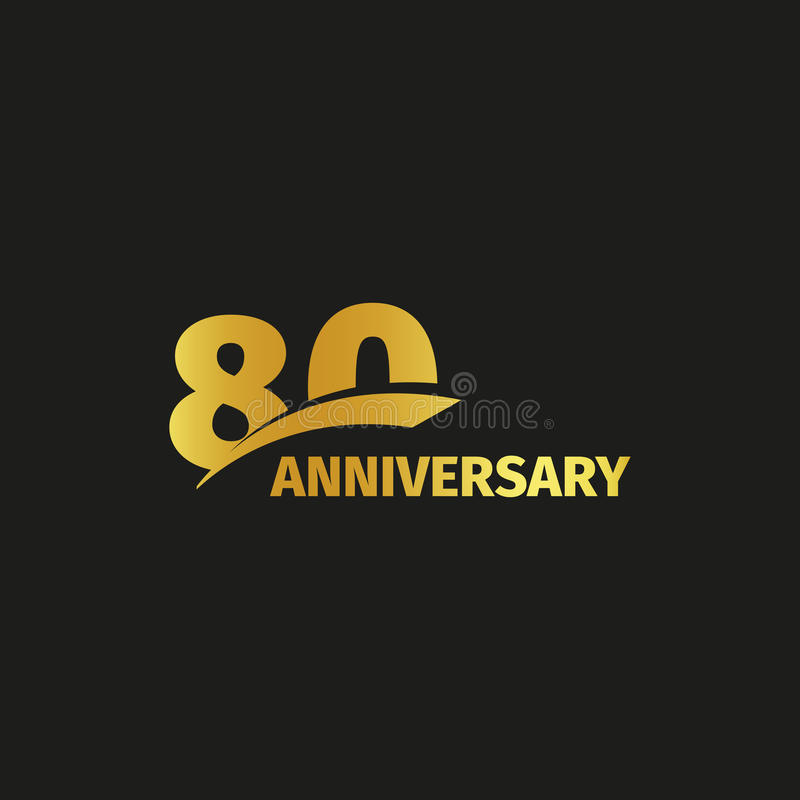 Isolated abstract golden 80th anniversary logo on black background. 80 number logotype. Eighty years jubilee celebration. Icon. Eightieth birthday emblem stock illustration