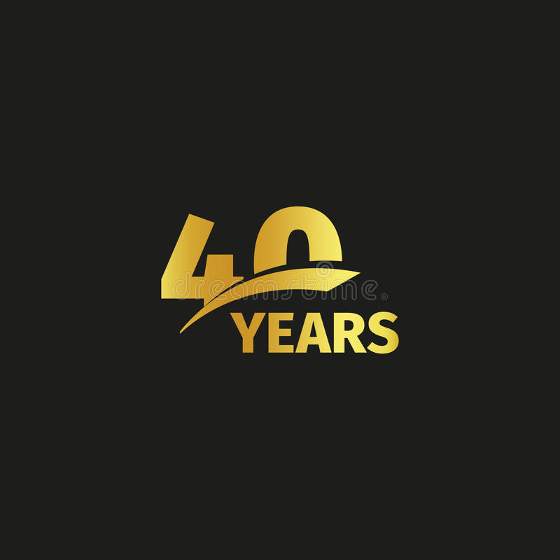 Isolated abstract golden 40th anniversary logo on black background. 40 number logotype. Forty years jubilee celebration. Icon. Fortieth birthday emblem. Vector royalty free illustration