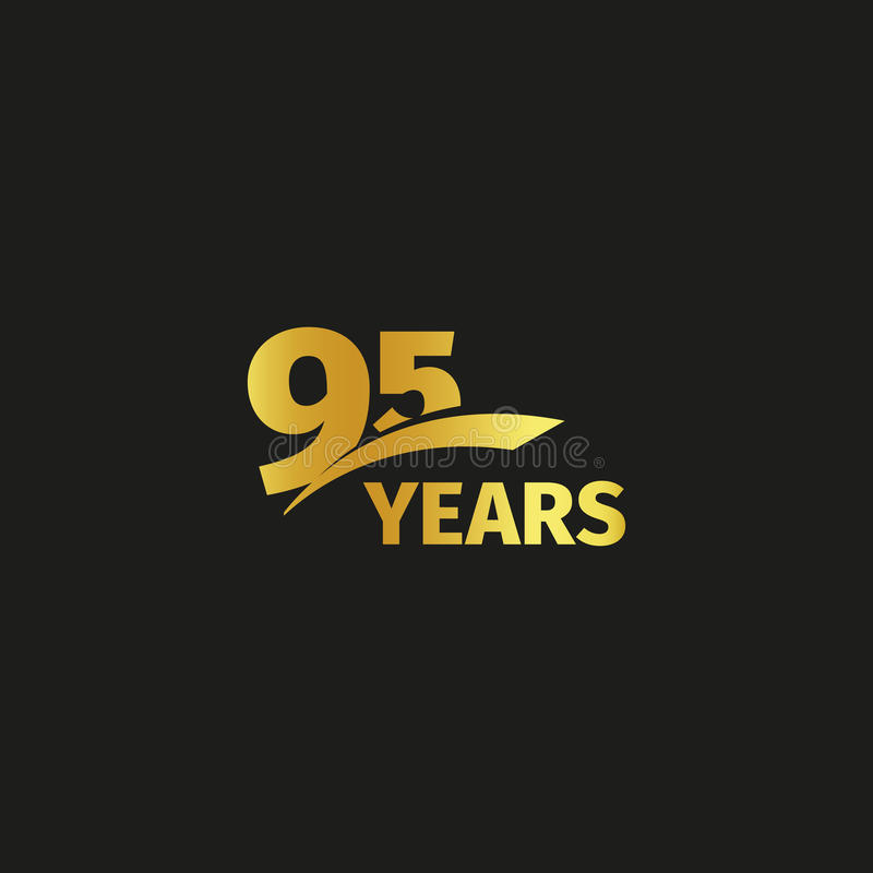 Isolated abstract golden 95th anniversary logo on black background. 95 number logotype. Ninty-five years jubilee. Celebration icon. Birthday emblem. Vector stock illustration