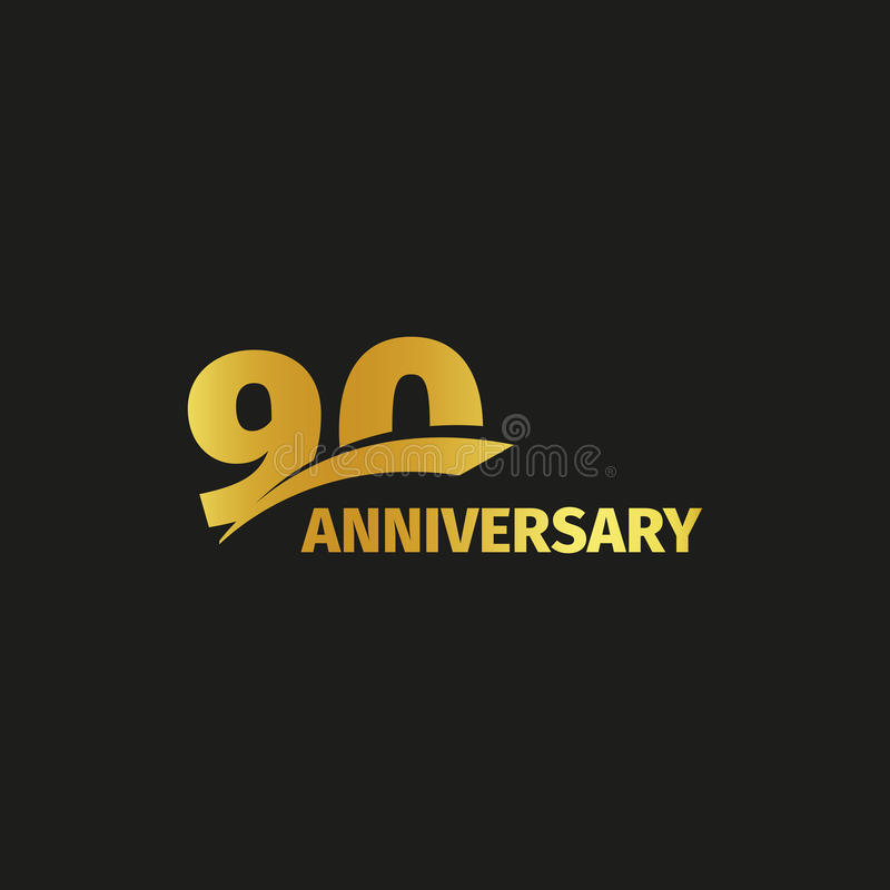 Isolated abstract golden 90th anniversary logo on black background. 90 number logotype. Ninty years jubilee celebration. Icon. Nintieth birthday emblem. Vector vector illustration