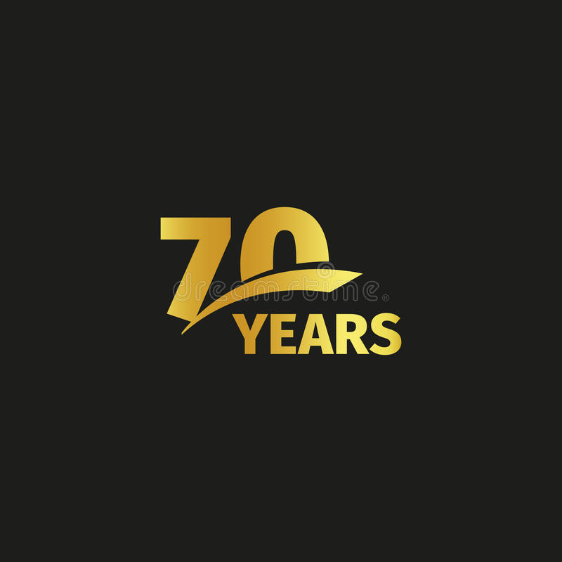 Isolated abstract golden 70th anniversary logo on black background. 70 number logotype. Seventy years jubilee. Celebration icon. Seventieth birthday emblem stock illustration